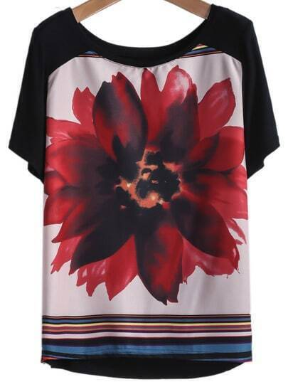 Black Short Sleeve Lotus Print Loose T-Shirt