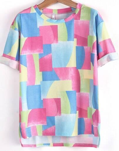 Blue Short Sleeve Geometric Print Loose T-Shirt