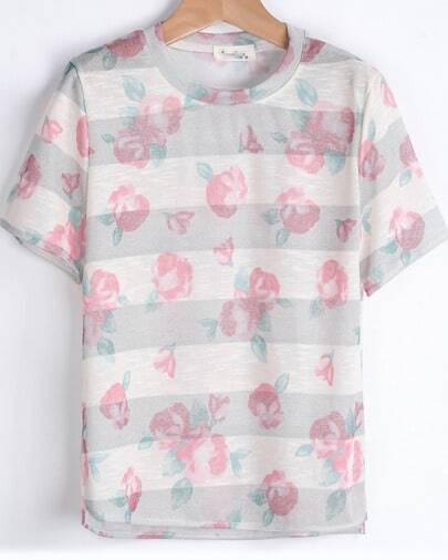 Apricot Short Sleeve Striped Floral T-Shirt