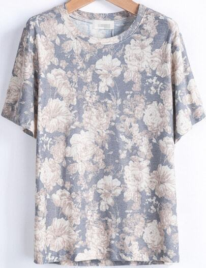 Blue Short Sleeve Rose Print Loose T-Shirt