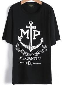 Black Short Sleeve Anchors Letters Print T-Shirt