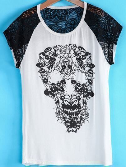 White Contrast Lace Short Sleeve Skull T-Shirt