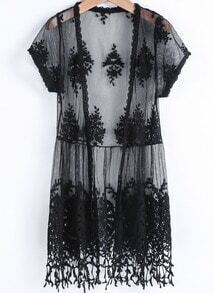 Black Short Sleeve Embroidered Tassel Blouse