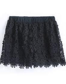 Black Elastic Waist Floral Crochet Lace Shorts