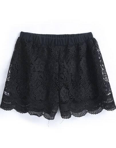 Black Elastic Waist Ruffle Lace Shorts