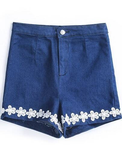 Blue Button Applique Denim Shorts