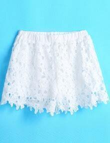 White Elastic Waist Floral Crochet Hollow Shorts