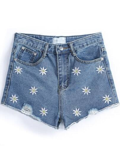 Blue Pockets Embroidered Denim Shorts
