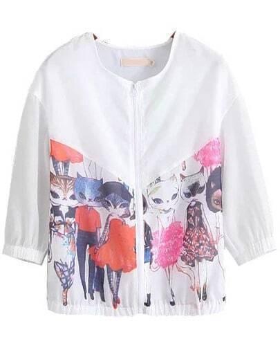 White Half Sleeve Cat Print Coat