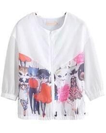 White Half Sleeve Cat Print Coat