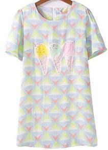 Yellow Short Sleeve Ice Cream Geometric Pattern Dress