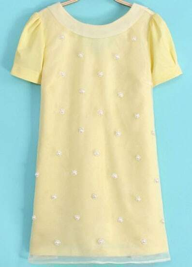Yellow Short Sleeve Bead Backless Dress