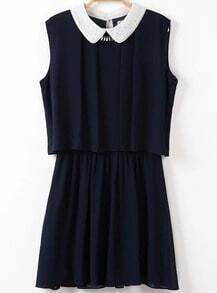 Navy Contrast Hollow Lapel Sleeveless Two Pieces Dress