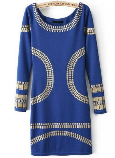 Blue Long Sleeve Backless Body Conscious Dress
