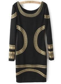 Black Long Sleeve Backless Body Conscious Dress