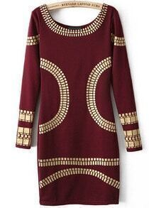 Wine Red Long Sleeve Backless Body Conscious Dress