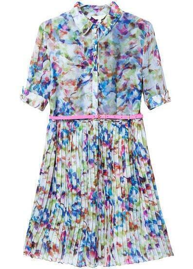 Blue Lapel Short Sleeve Floral Pleated Dress