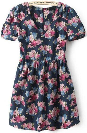 Blue V Neck Short Sleeve Vintage Floral Dress