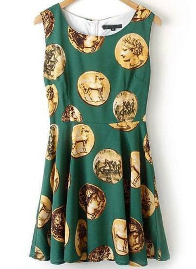 Green Sleeveless Vintage Coins Print Dress