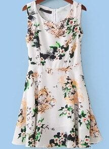 White Round Neck Sleeveless Vintage Floral Dress