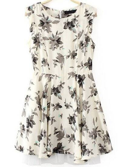 Beige Sleeveless Leaves Print Slim Dress