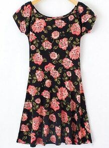 Black Short Sleeve Floral Pleated Dress