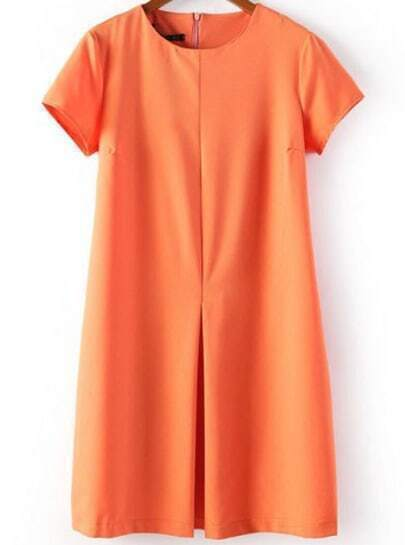 Orange Round Neck Short Sleeve Pleated Dress