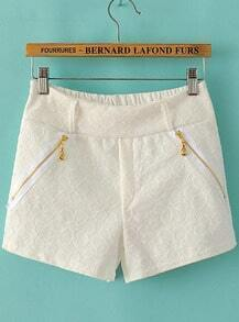 White Zipper Embroidered Lace Shorts