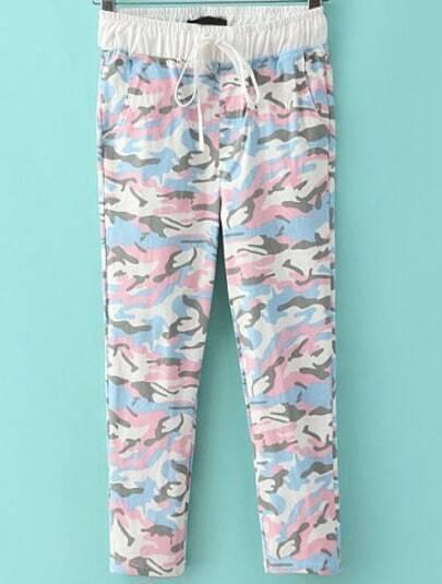 Pink Drawstring Waist Camouflage Pant