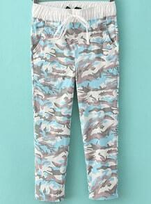 Blue Drawstring Waist Camouflage Pant