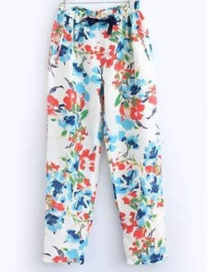 White Drawstring Waist Floral Loose Pant