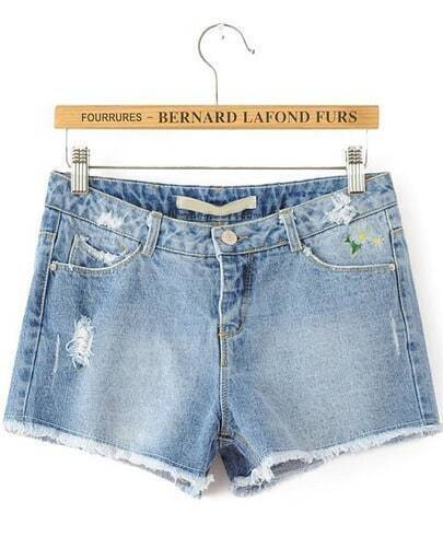 Blue Bleached Embroidered Fringe Denim Shorts