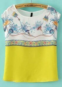 White Yellow Cap Sleeve Floral Chiffon Blouse