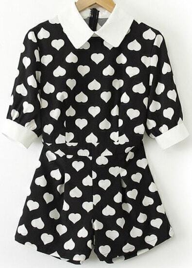 Black Contrast Lapel Short Sleeve Hearts Print Jumpsuit