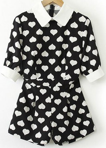 Black Contrast Lapel Short Sleeve Hearts Print Jumpsuit