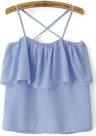 Blue Spaghetti Strap Ruffle Chiffon Vest
