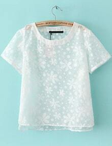 White Short Sleeve Floral Sheer T-Shirt