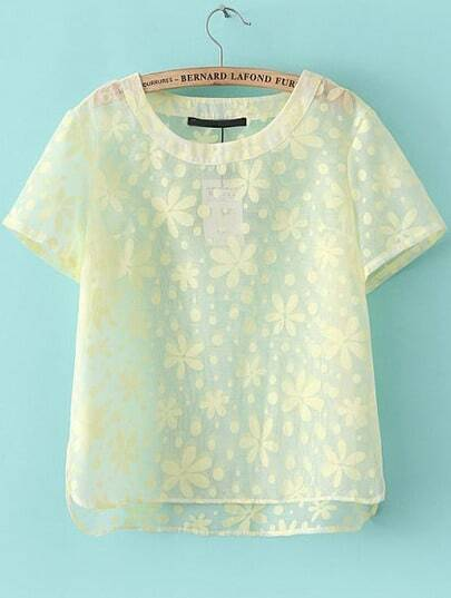 Yellow Short Sleeve Floral Sheer T-Shirt