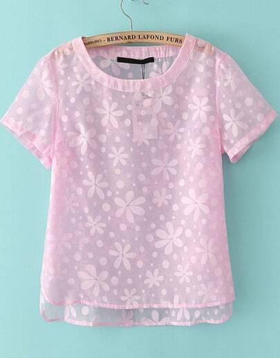 Pink Short Sleeve Floral Sheer T-Shirt