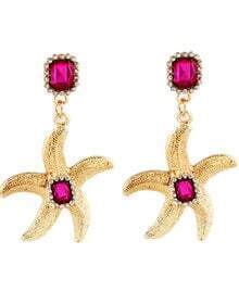 Red Gemstone Gold Starfish Earrings