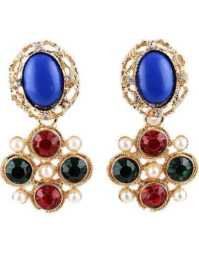 Red Green Gemstone Gold Bead Earrings