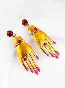 Red Gemstone Yellow Hand Earrings