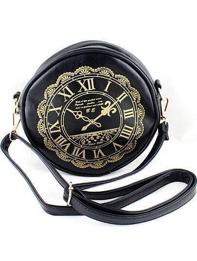 Black Clock Print PU Leather Bag