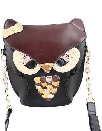 Brown Owl Bow PU Leather Bag