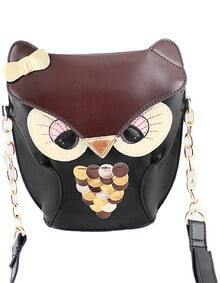 Brown Owl Bow PU Leather Bag -SheIn(Sheinside)