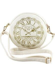 White Clock Print PU Leather Bag