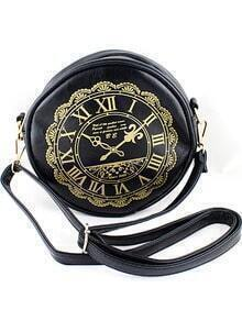 Black Clock Print PU Leather Bag