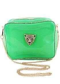 Green Leopard Head Embellished Bag