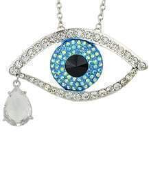 Silver Diamond Eye Chain Necklace