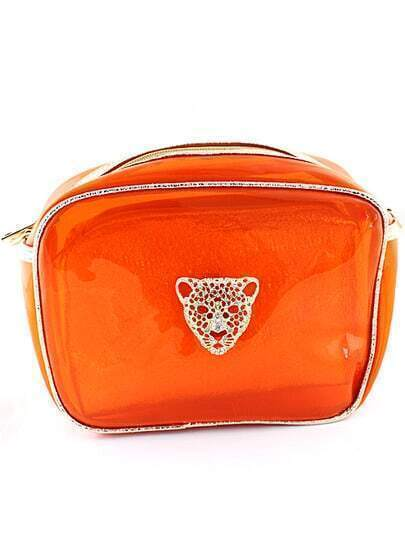 Red Leopard Head Embellished Bag